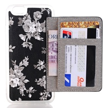 Mobile Phone Bag/Cover for iPhone SE Floral Pattern Leather Wallet TPU Stand Back Case for iPhone SE/5s/5 – White Flowers