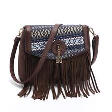 Buy Print Flower Pu Leather Women Messenger Bags Vintage Tassel Shoulder Crossbody Bag Patchwork National Brown Handbag 33*9.5*24cm for $14.84 in AliExpress store