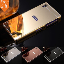 Buy Luxury Gold Plating Armor Aluminum Metal Frame + Mirror Acrylic Case Back Cover Sony Xperia Z1 Case L39h C6906 C6903 Hot for $3.48 in AliExpress store