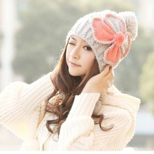 Brand 2016 New Warm Beanie Women's Cotton wool knitted Cap with pompon and ultra big bowknot in Winter Autumn cute(China (Mainland))