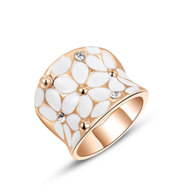 1PCS Free  Shipping! Fashion Austrian Crystal White Flower Ring White Gold Plated Women Jewelry for Chirstmas(China (Mainland))