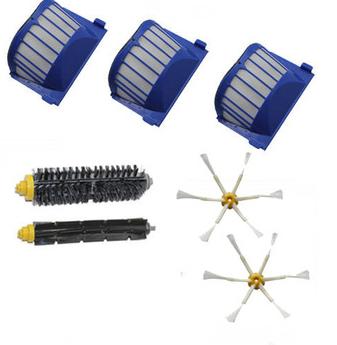 3 AeroVac Filter + Hair Brush kit + 2 side brush for iRobot Roomba 600 Series 595 620 630 650 660 Vacuum Cleaner Accessories(China (Mainland))