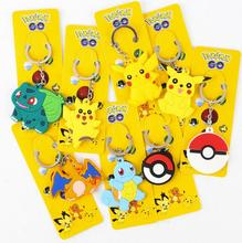 Retial poke mon go Pikachu double soft silicone small pendant Keychain 20160815(China (Mainland))