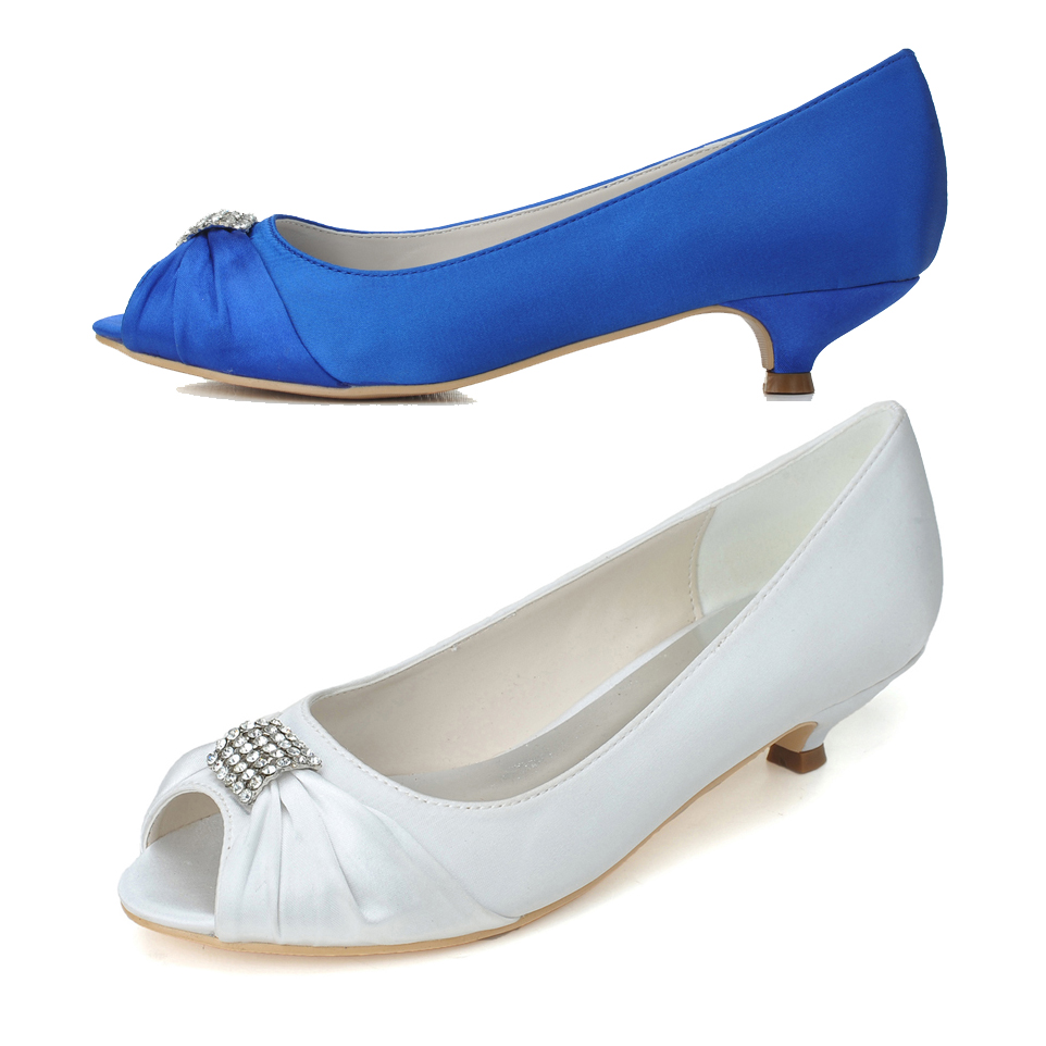 Elegant pleated satin with rhinestone diamond ring dress shoes for wedding party prom banquet evening low heel pumps blue white