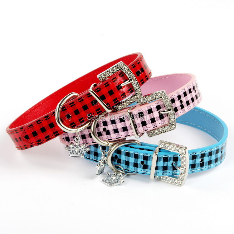 free shipping plaid dog collars wholesale dog product pet collar Pu leather with paw charms bling chihuahua pulldog poodle(China (Mainland))