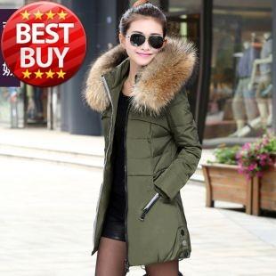 Зима толстый очень большой мех воротник вниз пальто белый перо утки женщины в средний - длинная вниз куртка