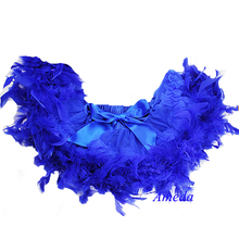Photo Props Newborn Baby Royal Blue Pettiskirt with Royal Blue Feather 0-6M(Hong Kong)