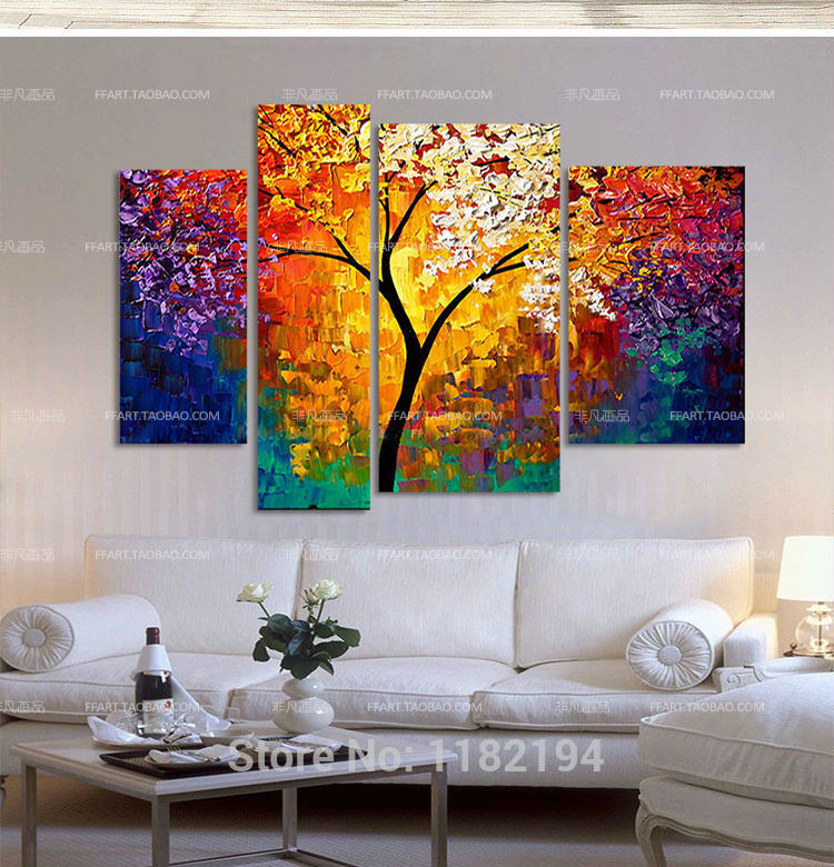 4 pcs sets handpainted oil painting wall art modern home for Living hall decoration