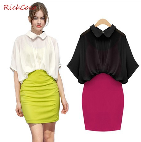 Free Shipping Women Casual Dress Fashion Colorful Sexy Knitting Turn Down Collar Half Sleeves High Waist Patchwork Vestidos D109(China (Mainland))