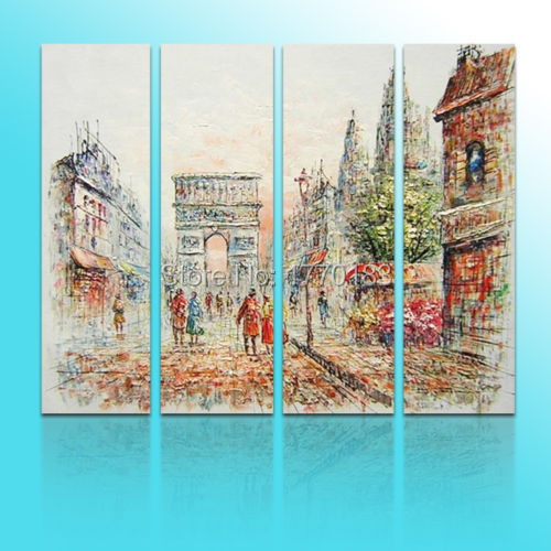 4 pieces hand painted classical canvas oil painting paris Champs Elysees wall painting art directly form artists(China (Mainland))