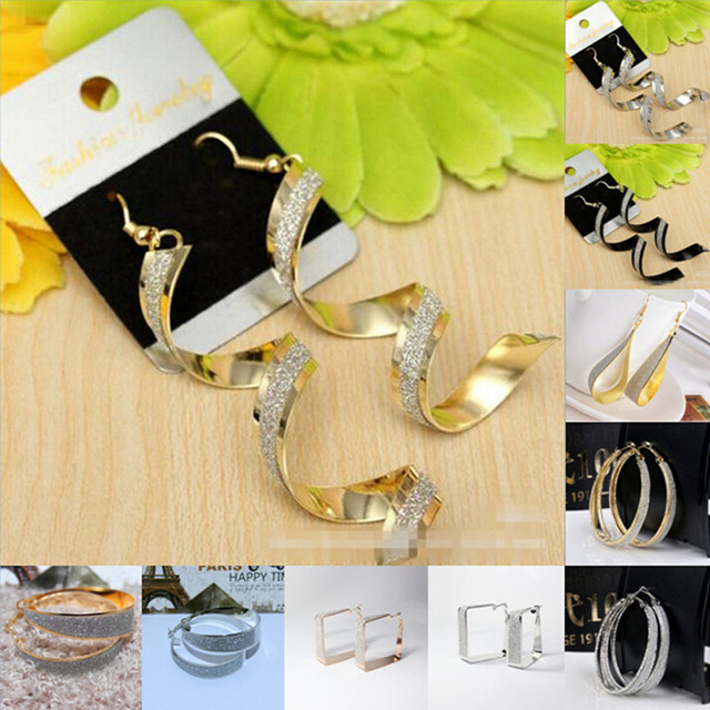 Sunshine new PUNK glitter gold earring big circle square bending waterdrop round dangle earrings fashion shinny for women