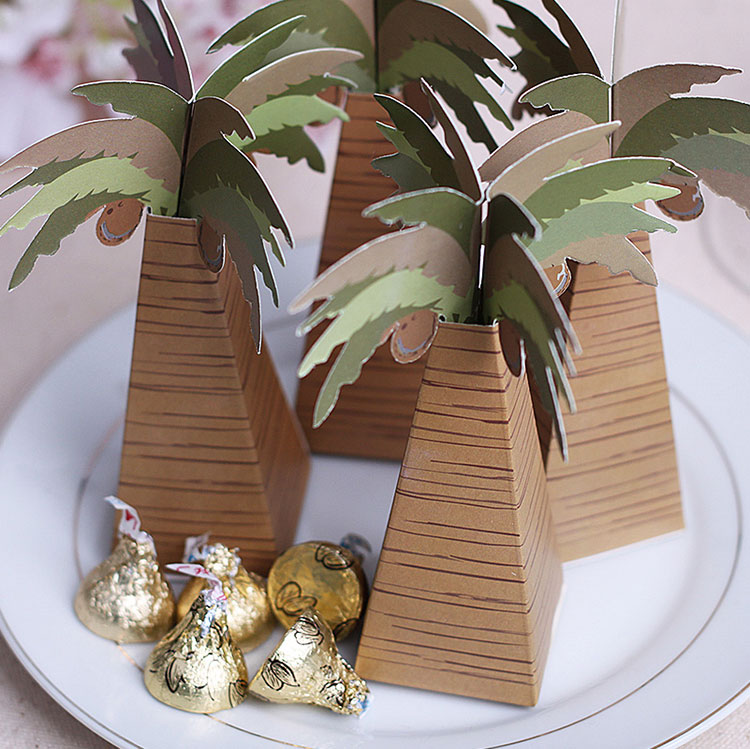coconut tree coconut palm candy box wedding baby shower birthday candy box favor holder(China (Mainland))