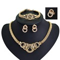 Amazing African Beads Jewelry Sets Necklace Bracelet Earrings Rings Crystal Party Wedding Gold Plated Bridal Collar
