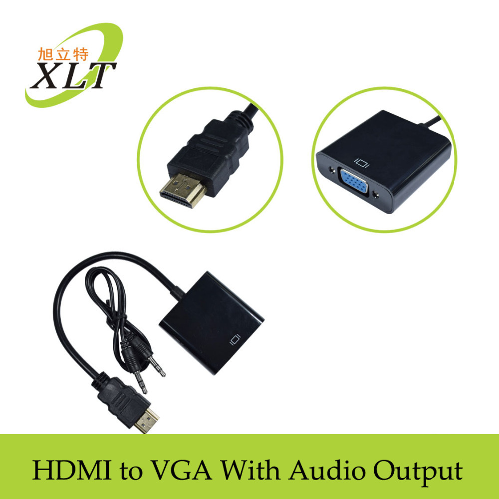 1080p HDMI to VGA Adapter Video Cable hdmi male to vga converter adapter with Audio Converter Adaptor for Xbox 360 PS3 PS4(China (Mainland))
