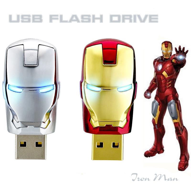Hot Sale 32GB 64GB  Avengers marvel iron man 3 Repulsor Head USB Flash Drives with LED Flash Light pen drives memory stick(China (Mainland))