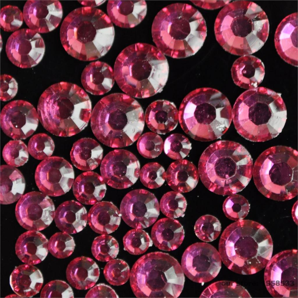 Mix Sizes 2mm - 6mm 400pcs Dark Hot Pink Rose Nail Art Rhinestones Flat Back Glass Non Hotfix Glue on For Nails Decoration N13(China (Mainland))