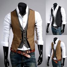 2014 New Fashion Plaid Pattern Men's Slim Vest Faux Two Piece Male Slim Vest Men Cotton Clothing Outerwear in Stock(China (Mainland))