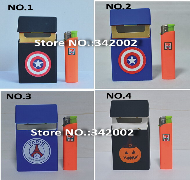 Silicone cigarette case box with Captain America , cigarro smoking Gift box pumpkin ,cigarrillos with football soccer print(China (Mainland))