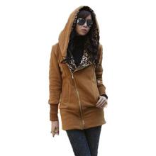 New women autumn and winter Casual Zipper Hoodie Sweatshirt Women's Long Sleeve Leopard Jacket Coat Warm Sweater Drop shipping (China (Mainland))