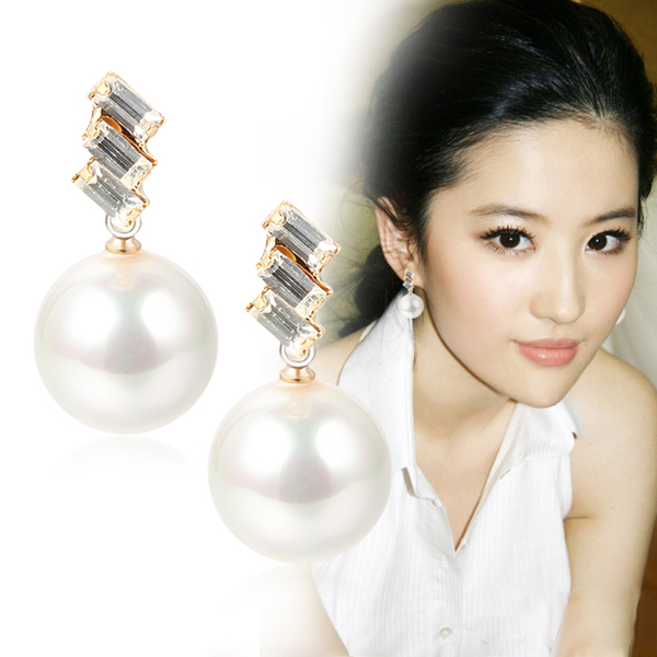 Free Shipping Fashion Pearl Earring Intlated  Female Black Cassic Elegant 2013 Accessories  Min Order $20