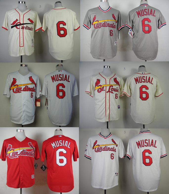Hot sale 2015 St. Louis Cardinals Jerseys #6 Stan Musial White Blue Men's Baseball Jersey Stitched Sports shirts Cheap Wholesale