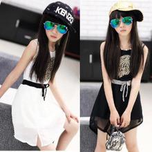 Free Shipping! Owl Pattern Girls' Sleeveless Dress Summer Chiffon Sundress for Kids Girls Tank Dress for Teenage Girls
