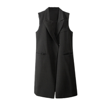 Summer Spring Fashion Jacket Women Thin Coat Turn-down Collar Double Press Pockets 1 button Sleeveless vest chaquetas mujer(China (Mainland))
