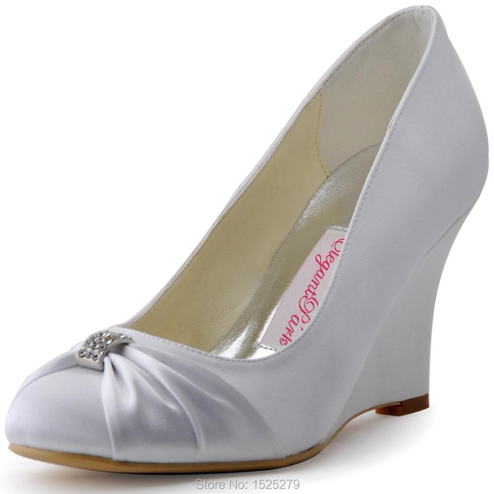 Fast Shipping EP2005 Women Formal Bridal Party Pumps Round Toe Wedge Heel Rhinestone Satin Wedding Shoes(China (Mainland))