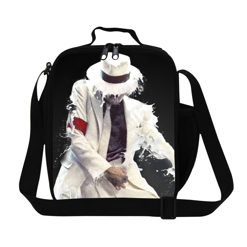 Famous star music Michael Jackson lunch bags thermal insulated food bags MJ pattern print lunchbox portable school meal package(China (Mainland))