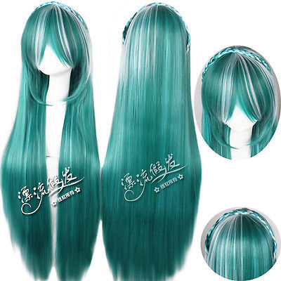 Discount Price 80cm vocaloid knife Gradient Ramp pigtail cosplay   Heat Resistant queen Hair wigs<br><br>Aliexpress