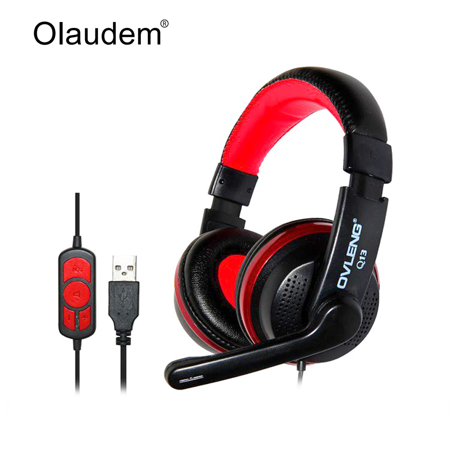 Headphones Headset Earphone USB Wired Stereo Head Phone Microphone Game Computer Mobile Phones Tablet PC Headphone Q13 - OLAUDEM Store store