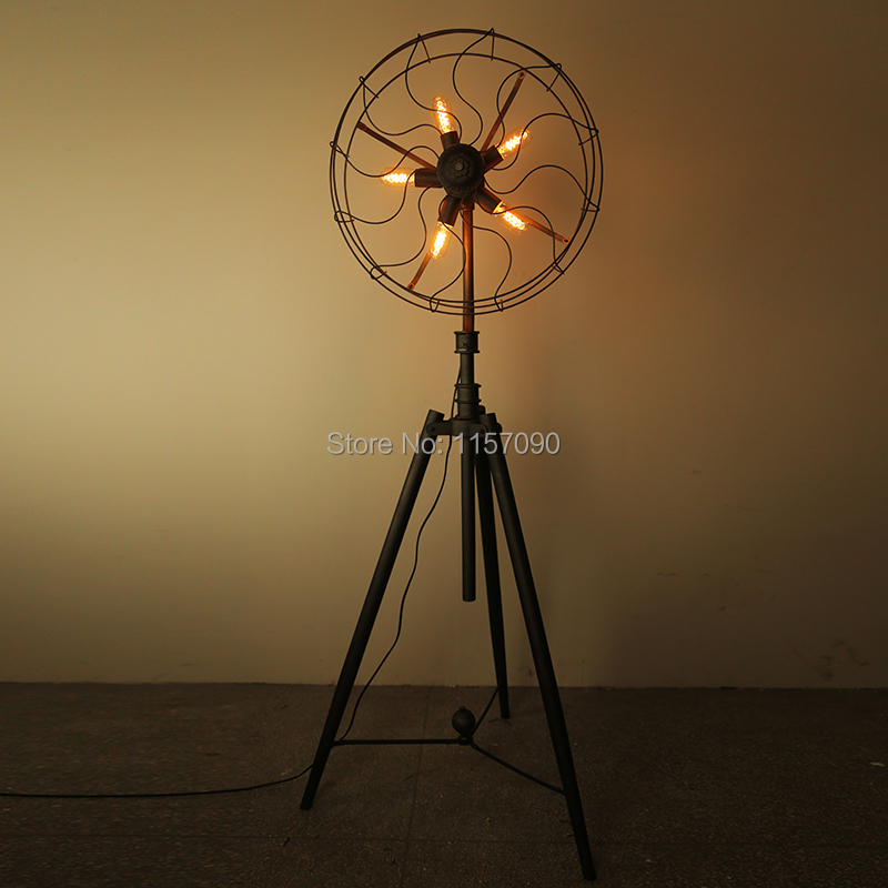 Floor Fans With Light : Free shipping loft vintage fan floor lamp american wrought