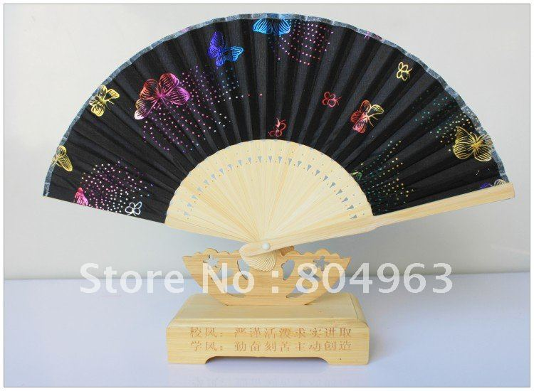 [China Confucian ]Free Shipping/L15CM*26RIBS Hand Fan,black folding fan with Stamping pattern,best gift for friend or schoolmate