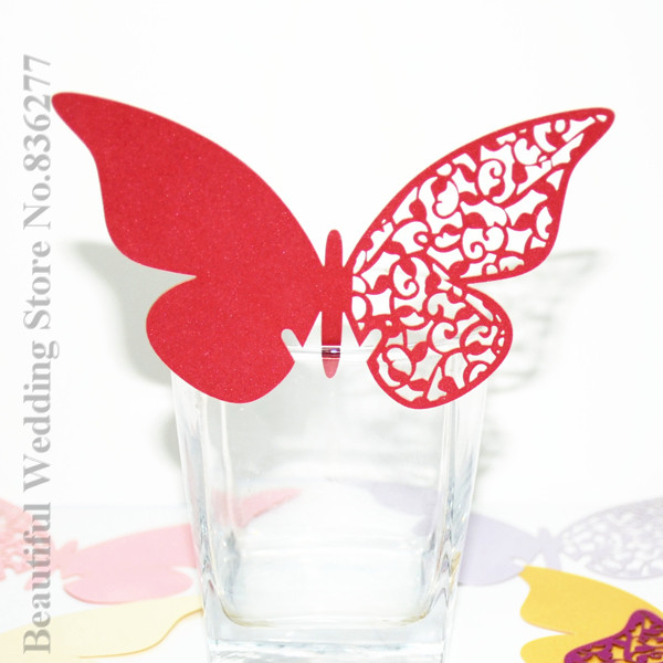 New HOT 96pcs Wedding Butterfly Paper Place Card Escort Card Cup Card Wine Glass Card Paper For Wedding Par Favors(China (Mainland))