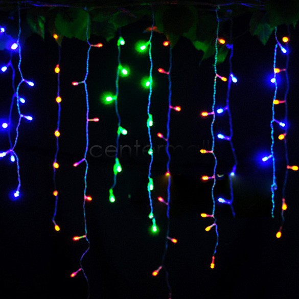 christmas outdoor decoration 3.5m Droop 0.3-0.5m curtain icicle string led lights 220V New year Garden Xmas Wedding Party Light(China (Mainland))
