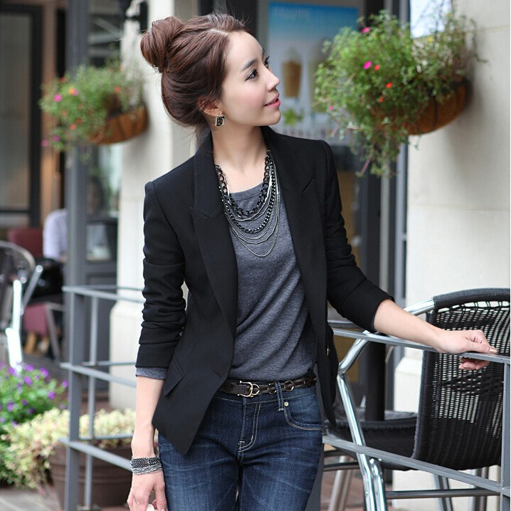 2015 blazer women one button New Plus Size Suits Women Work Wear Black OL Jackets feminino - Dream store