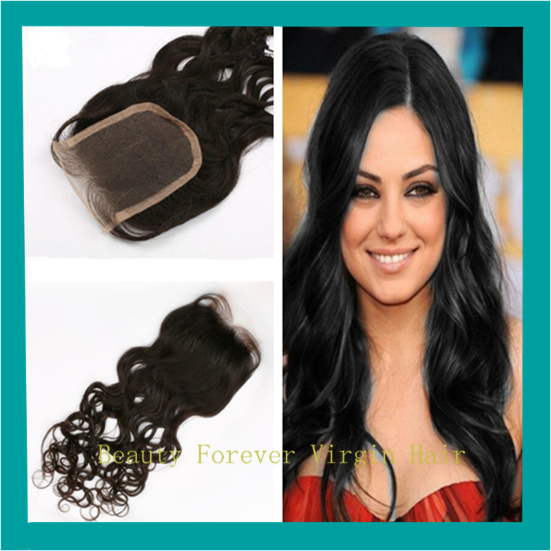 "Sexy Formula Hair Fashion Brazilian Lace Closure Water Wave 24"" #1 Thin Skin Lace Closure 4 x4 Free Middle 3 Part Closure(China (Mainland))"
