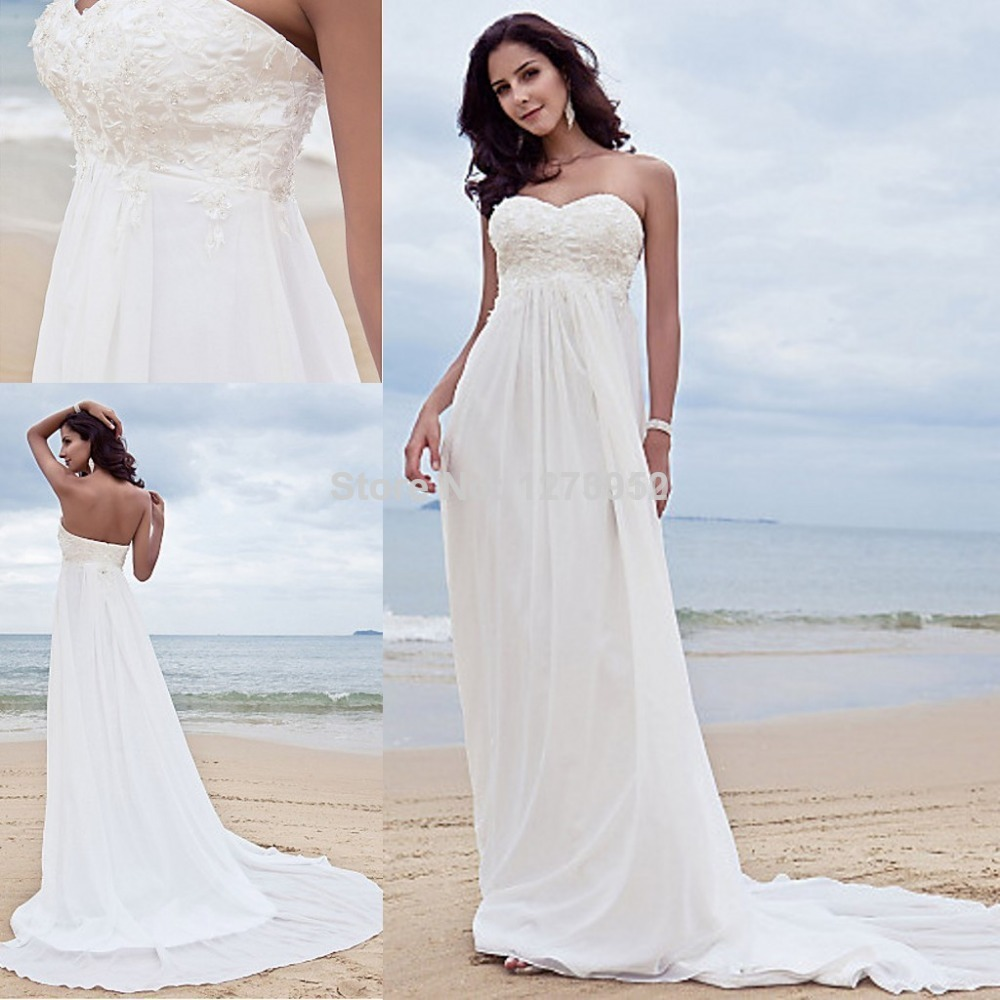 2015New Sweetheart Embroidery Beach Wedding Dress Bridal Gown Beach wedding Dress Lace Wedding Dress(China (Mainland))