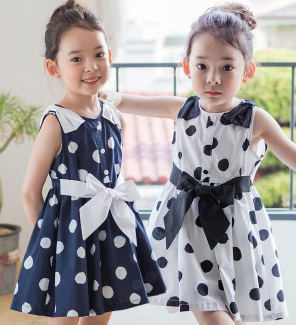 Мода новые летние девушки одеваются детей без рукавов платья принцесс девочка Dot платье