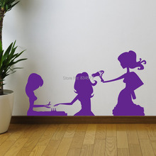 Sexy Woman Beauty Nails Hair Silhouette Wall Art Sticker Decal Home DIY Decoration Wall Mural Removable Room Decor Wall Stickers()