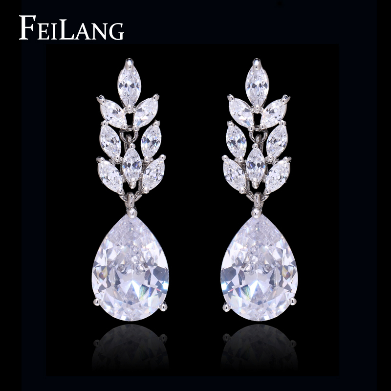 Romantic Zircon Leaf Shape Top Quality CZ Diamond Dangle Earrings For Woman (FSEP075)<br><br>Aliexpress