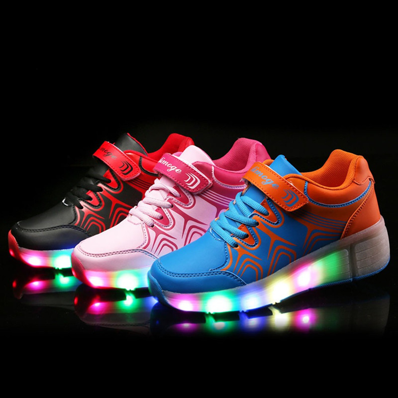 Фотография Led Shoes Kids Lights Kids Roller Shoes Wear-resistant for Boys Girl Sneakers With Wheels Chaussure Enfant Zapatillas Con Ruedas