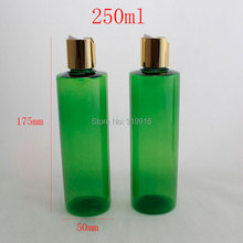 250ml x 20 green empty plastic oil bottles with caps , DIY 250ML lotion PET Bottle With Cap, clear cosmetic packaging bottles(China (Mainland))