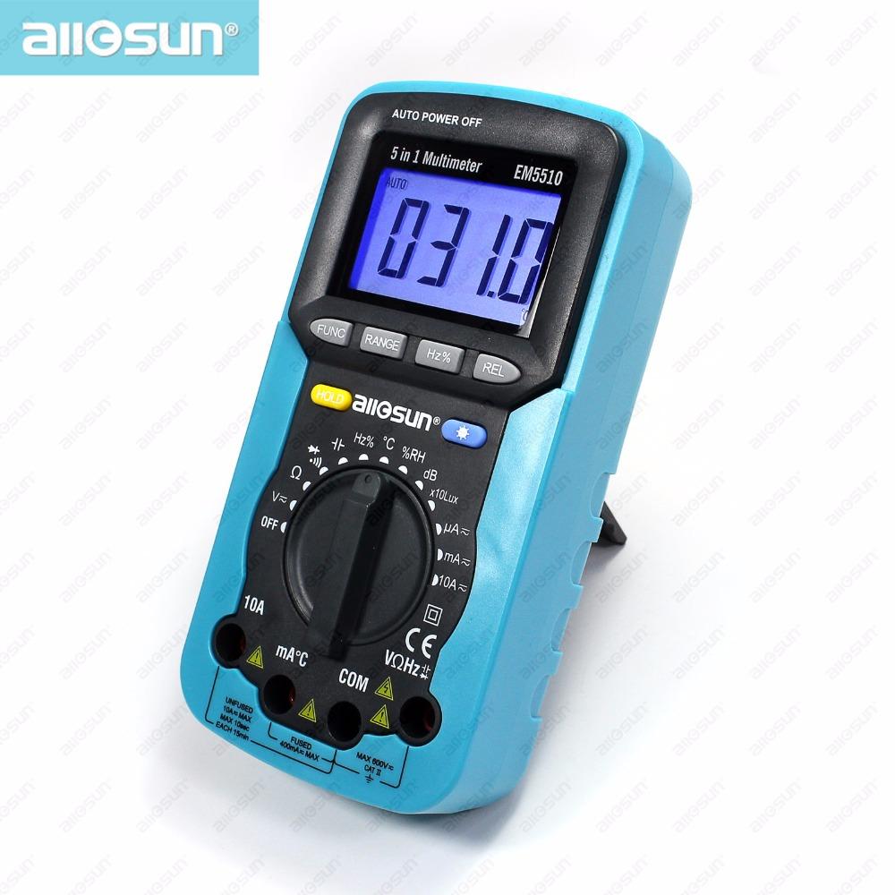 all sun 5 in 1 Digital Multimeter Sound Level Humidity Luminosity Temperature LCD AC DC Multimeter