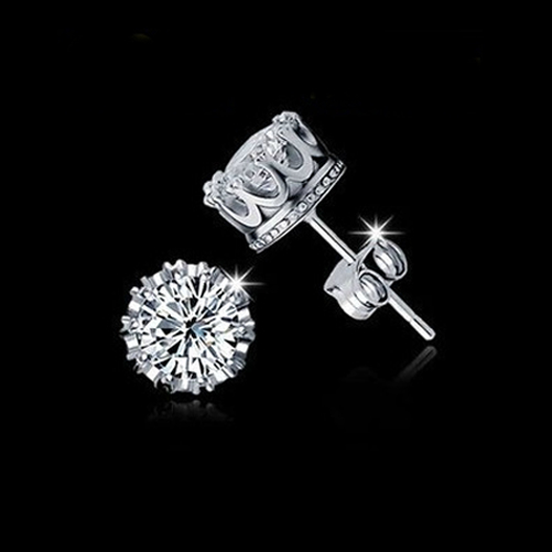 925 Sterling Silver jewelry Cubic Zirconia Crystal Crown Set Ear Stud(China (Mainland))