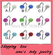 Buy Sprial nose ringN27wholesale free 500pcs/lot mix10color disco ball crystal nose body jewelry fake nose ring ferido for $311.46 in AliExpress store