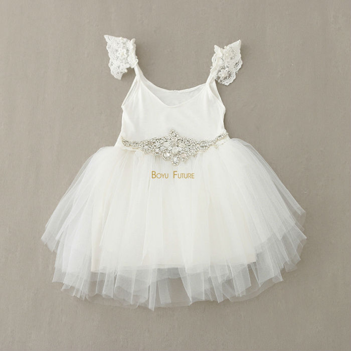 2015 Summer Style Lace Sleeves Tulle Tutu Girl Dress with Crystal Diamond Belt Baby Toddler Party Dress Girls Clothes 2-6Y(China (Mainland))
