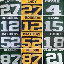 12 Aaron Rodgers 18 Randall Cobb 21 Ha Ha Clinton-Dix 27 Eddie Lacy 52 Clay Matthews 4 Brett Favre 87 Jordy Nelson Elite jersey(China (Mainland))
