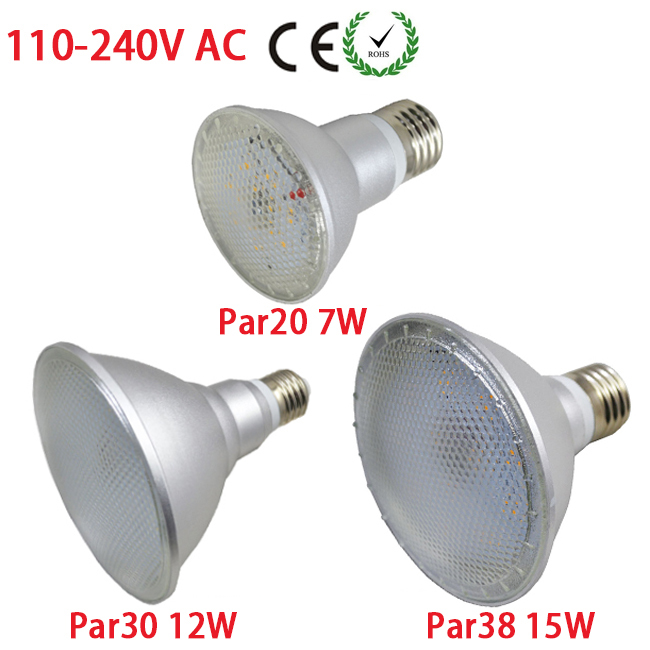 Super AC 110V~240V Spot Light E27 Led Lamp 2835 SMD 7W PAR20 12W PAR30 15W PAR38 with Lens High Lumen LED Lamps(China (Mainland))