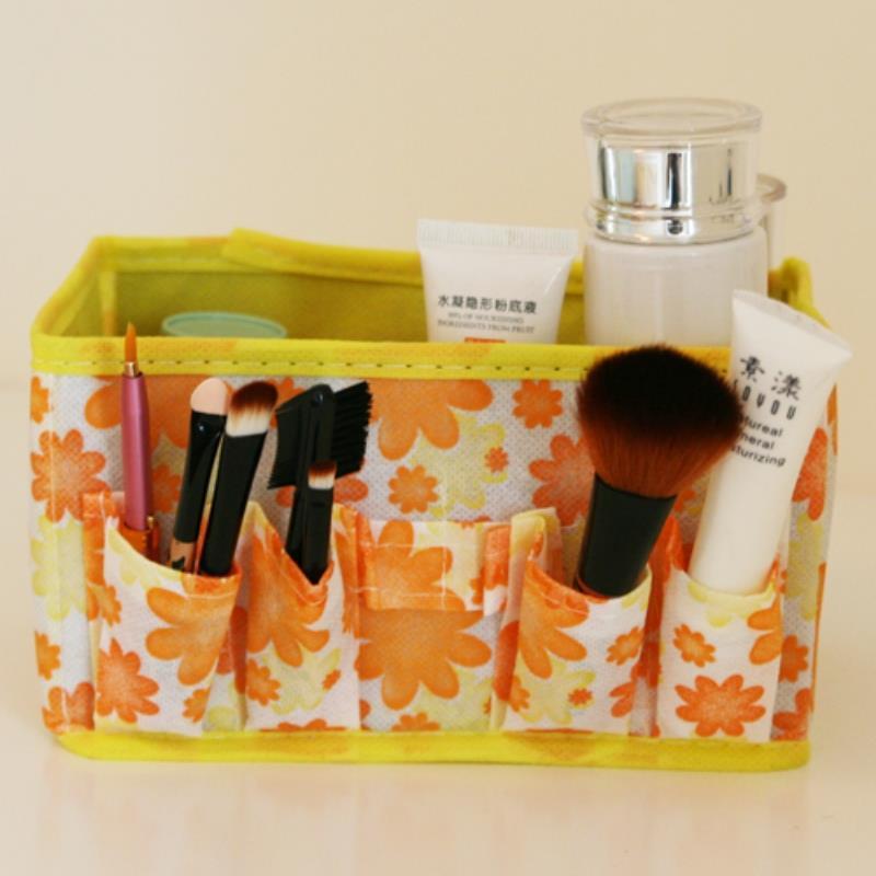 Desktop Accessories cosmetic organizer Orange daisy Makeup Storage Organizer Box Case Cosmetic Bag porta joias(China (Mainland))
